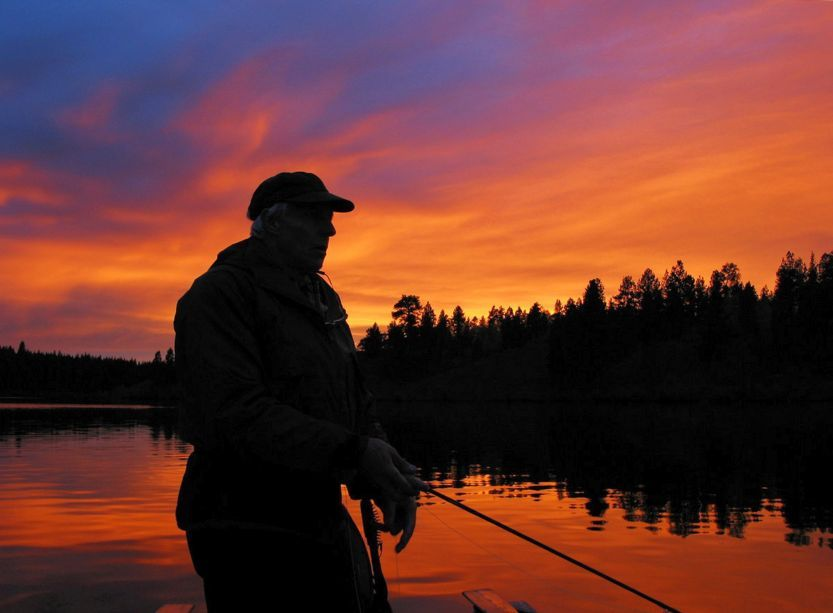 RW/SL Sunset 5H/02 (RGB/72).jpg RGB jpeg of ROB WAY fly fishing east end of SALMON LAKE at SUNSET, Merritt, BC; Canon Powershot G2 digital image; 72 ppi MASTER. 2002 10 12/RJM © Richard Mayer (photo Oct 6/02)