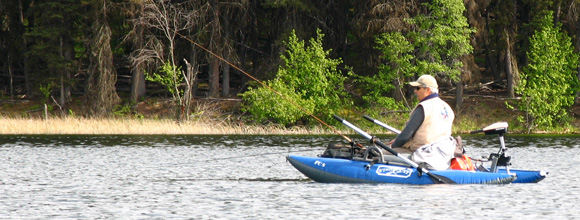 Chuck Vaugeois during a fishout to Roche Lake, British Columbia
