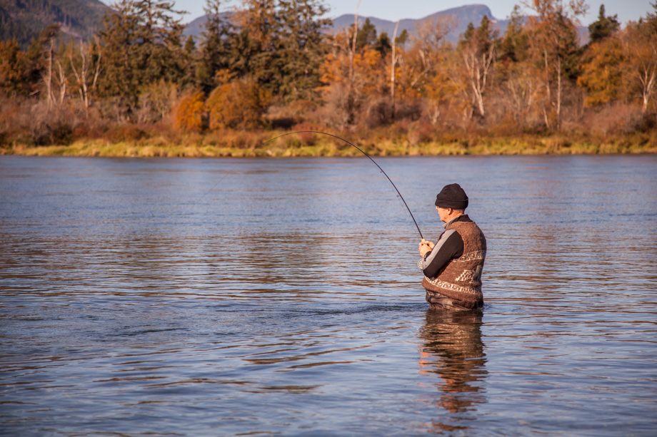 4879HL J Simms Bent Rod With Salmon On Harrison River