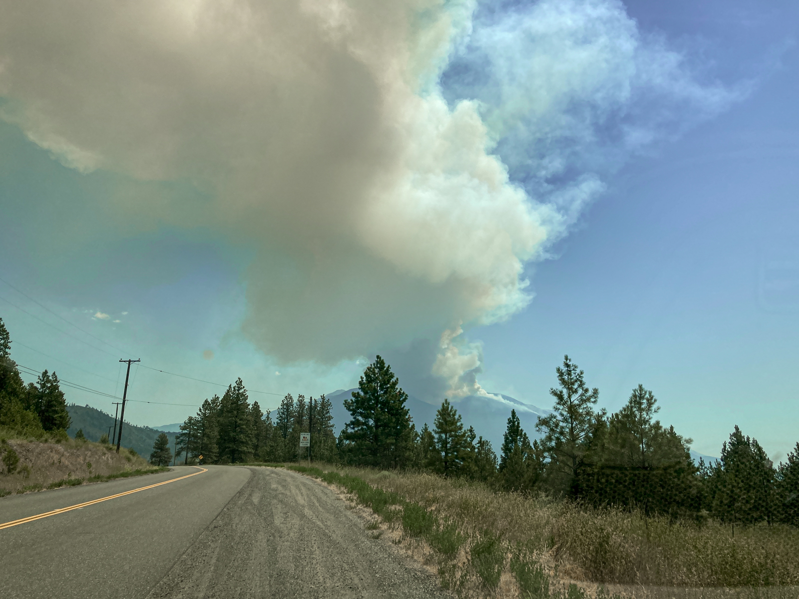 The fire south of Lytton. Just hours after this photo the town of Lytton burnt to the ground.